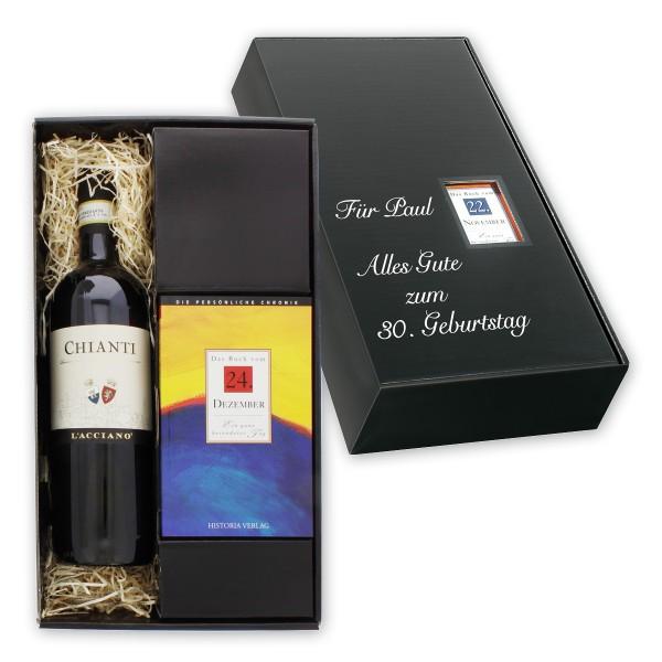 Das Italien-Set besteht aus dem berühmten Chianti-Rotwein aus der italienischen Toskana sowie einer persönlichen Tageschronik vom Tag der Geburt des Beschenkten.