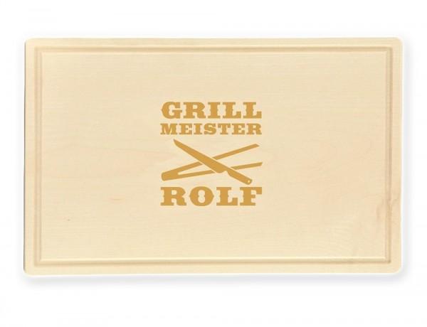 Das Schneidebrett Grillmeister besteht aus hochwertigem Erlenholz und wird mit Deinem Wunschnamen personalisiert!