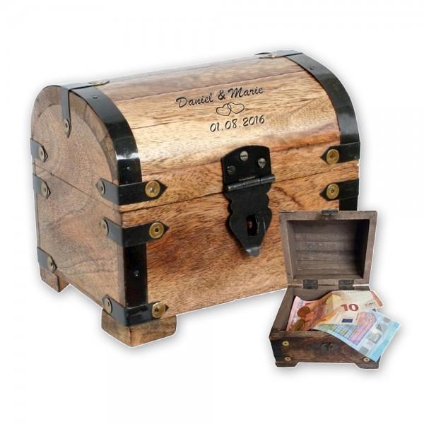 Mit dieser tollen Schatzkiste im Antiklook kannst Du Dein Geldgeschenk stilvoll und persönlich verpacken und überreichen!