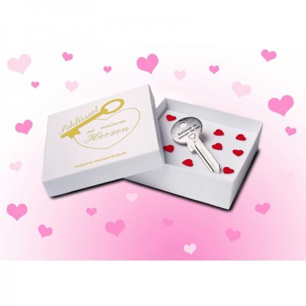 Schlüssel zu meinem Herzen in weißer Schmuckbox