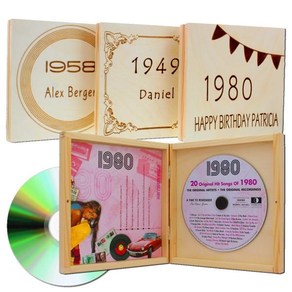Jahrgangs Musik Cd 1920 1995 In Eleganter Holzverpackung Mit Gravur