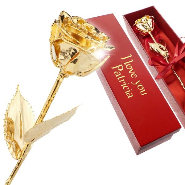 Echte vergoldete Rose in roter Geschenkbox mit Wunschgravur