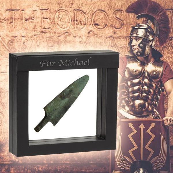 Die original antike Pfeilspitze stammt aus dem 4. bis 3. Jahrhundert und wurde auf einem ehemaligen Schlachtfeld der Griechen, Perser oder Römer gefunden!