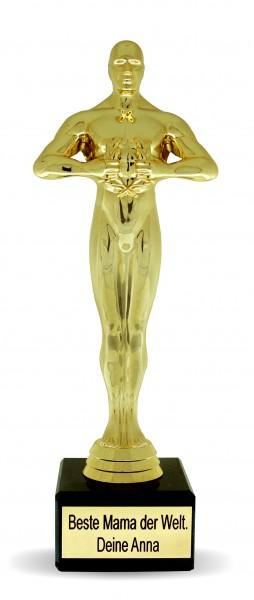 Originelles Geschenk mit hohem Wiedererkennungswert: verschenke eine goldfarbene Siegerstatue mit Deiner individuellen Wunschgravur!