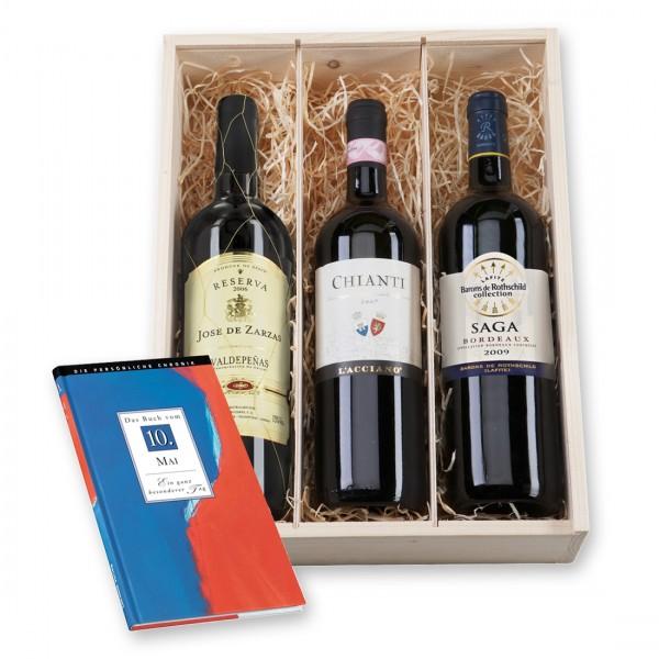 Unsere originelle Wein-Geschenkbox Geburtstagskracher besteht aus 3 internationalen Rotweinen aus Frankreich, Spanien und Italien sowie einer Geburtstagschronik vom Geburtstag des Beschenkten!