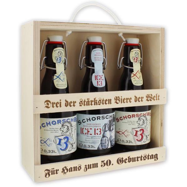 Das Starkbier-Set für starke Männer: drei der stärksten Biere der Welt, rustikal präsentiert in einer praktischen Holzbox mit Tragekordel!