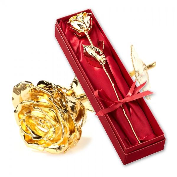 Echte vergoldete Rose in edler Geschenkverpackung