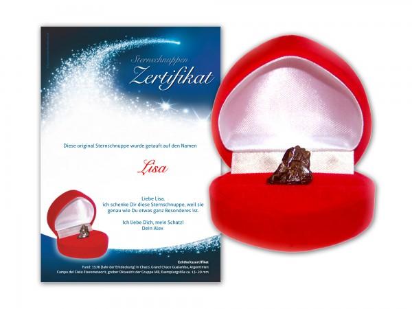Echte Sternschnuppe in roter Herzbox mit persönlichem Widmungszertifikat