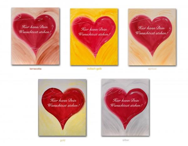 Unsere romantischen Herzbilder werden von Hand gemalt und mit Deiner max. 150 Zeichen langen Wunschbotschaft versehen! Für den Hintergrund stehen 5 tolle Farben zur Auswahl.