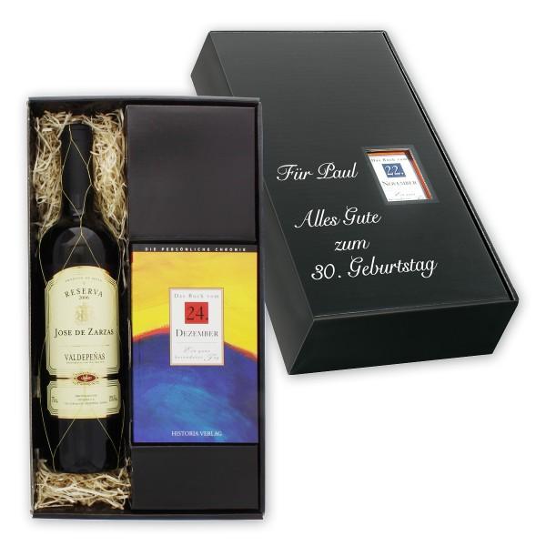 Das Spanien-Set besteht aus einem aromatischen rubinroten spanischen Rotwein sowie einer persönlichen Tageschronik vom Tag der Geburt des Beschenkten.